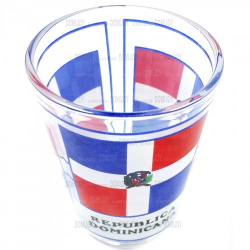 Shot Glass Rep. Dom. and Big Flag