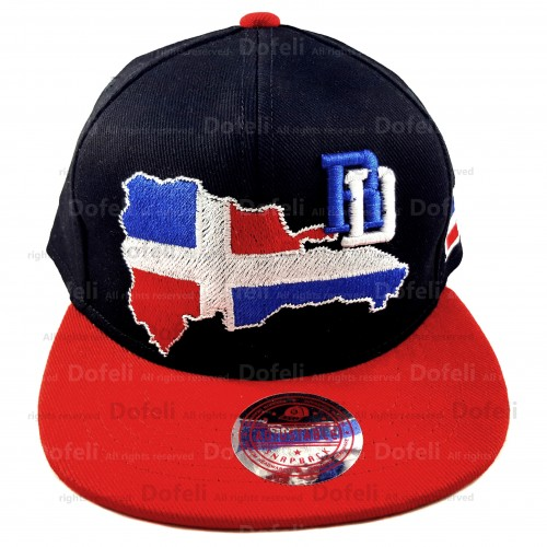Dominican Black Main and Red Visor RD Map Adjustable Size Cap (B)