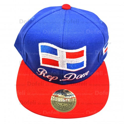 Rep Dom and Flag-Adjustable Cap Blue M Red V