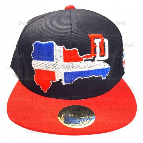 Dominican Black Main and Red Visor RD Map Adjustable Size Cap