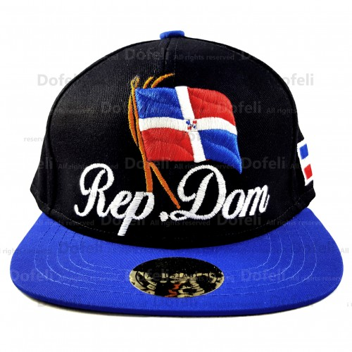 Dominican Black Main and Blue Visor Rep Dom Writings and Flag Adjustable Size Cap