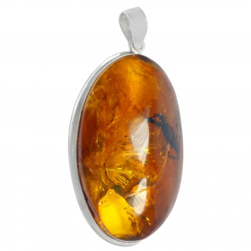 Dominican Amber Pendant Spider Fossil 925 Sterling Silver