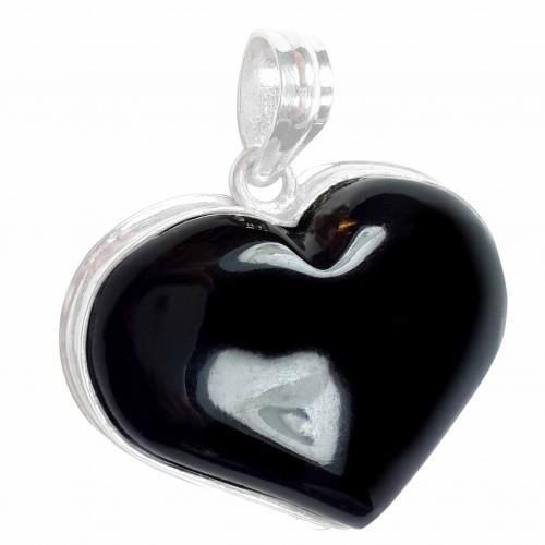 Caribbean Black Coral Gem .925 Sterling Silver Pendant