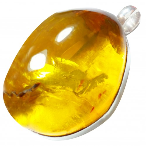 Dominican Amber Pendant 925 Sterling Silver
