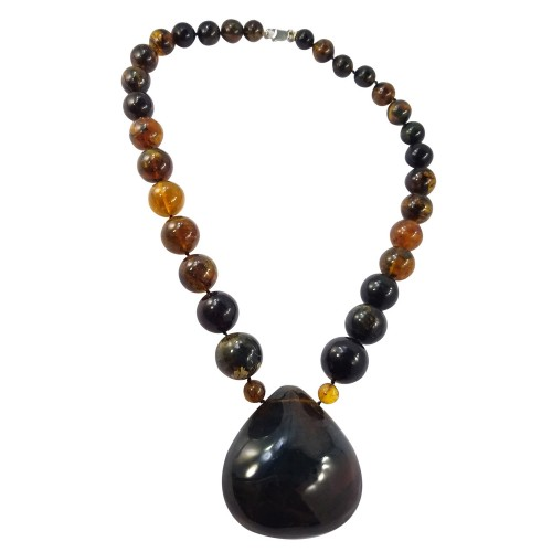 Dominican Blue Amber Gem Rock Strand of Beads