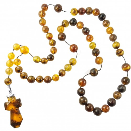 Dominican Amber Precious Rock Jesus Cross Pendant Necklace