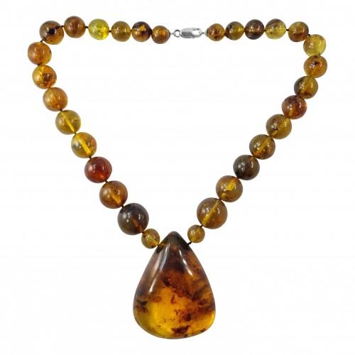 Dominican Amber Precious Stone Pendant Necklace