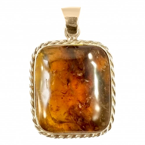 Dominican Dark Brown Amber Stone Pendant