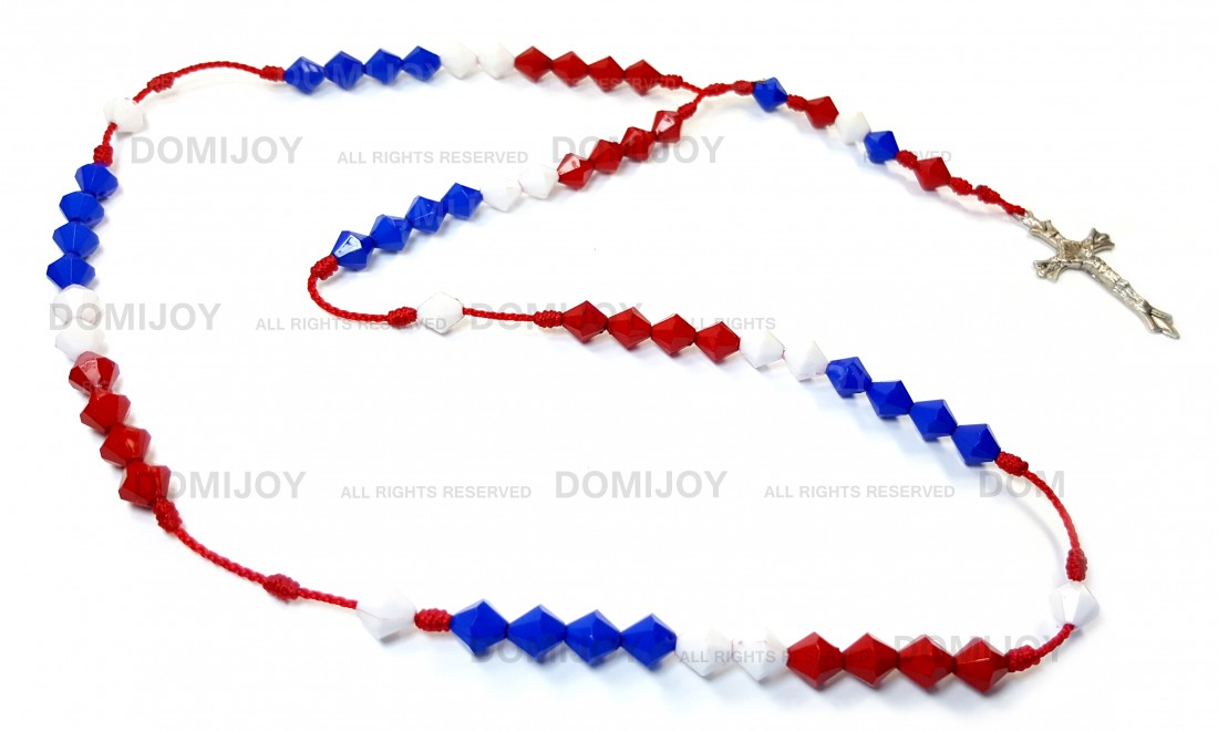 Dominican Red Blue White Crucifix Cross Rosary